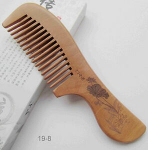 19-8 QiaoYaTou Flowers Carve Old Peach Wood Unisex Wide-toothed Health Care Comb