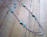 Turquoise Cross Necklace Earrings Rhinestones Beads Long Set Cowgirl Jewelry