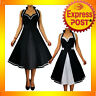RK34 Rockabilly Swing Dress Vintage Retro Polka Dot 50s Style Black Pinup