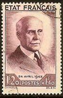 "Francia Sello Stamp Yvert N º 576"" Petain 1F20+ 1F40 Lila Oscuro"" Matasellado MB"