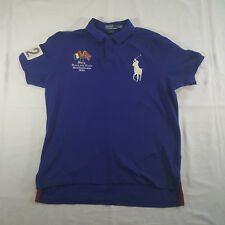 Polo Ralph Lauren Italy 1934 Track & Field Champs Polo Shirt XL Custom Fit Blue
