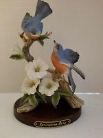 Vintage HOMCO Springtime Song Bluebirds Classic Porcelain Figurine - 1991
