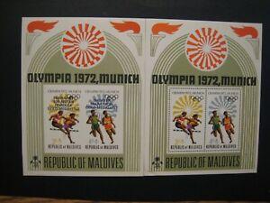 Republic of Maldives Olympic 1972 2 S/S 1 perfed & 1 imperfed MNH OG