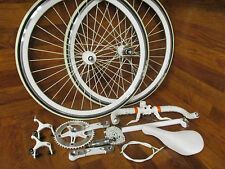 SINGLE SPEED FIXED GEAR TRACK COMPLETE BUILD KIT GROUP 700C WHEEL SET WHITED OUT