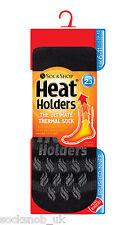 Heat Holders - Mens Thermal Non Slip Gripper Slipper Socks Black/Charcoal Stripe