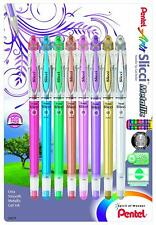 NEW!!  Pentel Arts Slicci Metallic 0.8mm Gel Roller Set 8 pcs
