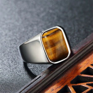 Man Real Stainless Steel Band Ring Solid Tiger's Eye Square Stone Ring Size 7-12