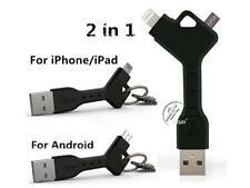 Key Chain Short Micro USB Android Samsung & iPhone Cable. Quality Strong Rubber