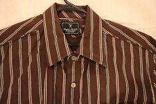 Marc Ecko Cut & Sew Mens Large Brown Striped Long Sleeve Button Down Shirt