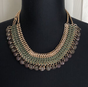 Chico's Green Beaded Gold Tone Chain Collar Statement Boho Necklace