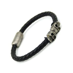 Men's Leather Double Gun Black Skull Bracelet ~ Stainless Steel 21cm 8 inch