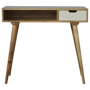 Mid Century Scandinavian Style Solid Wood Writing Desk With White Painted Drawer