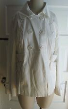 Autograph New York Double Breasted Peacoat White Jean Denim Jacket Womens L