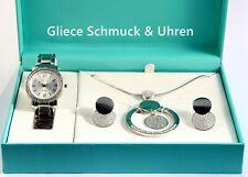 Excellanc Damenuhr im Set mit Kette & Ohrringe, Silber, Zirkonia, Geschenk-box