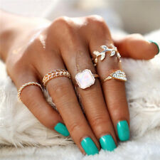 5PCs/Set Flower Leaf Ring Set Beach Boho Pink Stone Knuckle Midi Rings Jewelry