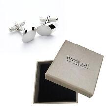 Mens Silver Oval Fashion Cufflinks & Gift Box By Onyx Art