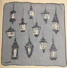 Vintage Designer Hankie Handkerchief Jeanne Miller Lanterns Lamp Blue Beautiful