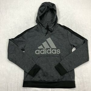 Adidas Sweater Adult Medium Gray Black Hoodie Sweatshirt Pullover Casual Mens*