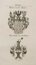 1847 Wappen Adelige Von der Mark Marschalk von Ostheim Kupfer Coat of Arms