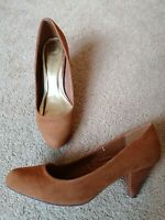Dorothy Perkins Tan Faux Suede Court Shoes Heel Uk Size 5