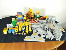 HUGE Fisher Price Geotrax Construction Lot Remote Control Trains Track Buildings