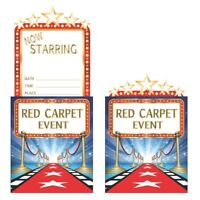 8 x Hollywood Lights Red Carpet Invitations Adults Party Invites Movie Night