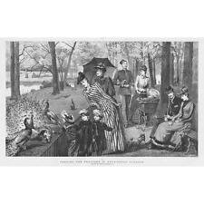 LONDON Feeding the Peacocks in Kensington Gardens - Antique Print 1891
