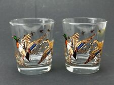 2 Vintage Mallard Duck Fowl Libbey Whiskey Low Ball Drinking Glasses Set Barware