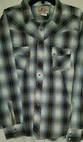 Vintage Wrangler Western Mens Pearl Snap Large Shirt 2xl long Sleeve brown plaid