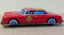 """Fire Chief Tin litho Car Japan Mercedes Friction WORKING 5"""" old FD emergency"""