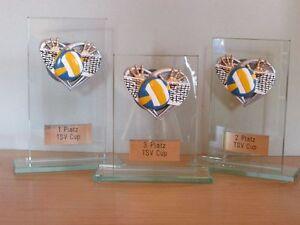 3er-Serie Volleyball-Pokale (Glas) mit Wunschgravur (H)