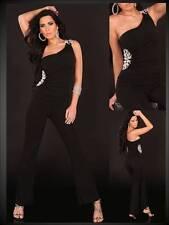 eleganter Koucla langer Overall Einteiler Jumpsuit Tigerschnalle schwarz (72)