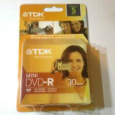 TDK DVD-R D Mini Recordable Blank DVD-R Dicsc 30 Mins - 4X1.45GB / 5 pack