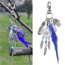 Luxury Boho Dream Catcher Turquoise Feathers Palm Gemstone  Keychain Keyfob