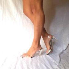 Stuart Weitzman 9 M Clear Strappy Sandal Women's Heels Sexy