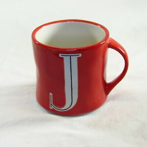 Anthropologie Letter J Initial Monogram Red Mug Hand Painted Ceramic Coffee Cup