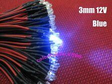 Soporte de alambre de línea de emisor de luz Diodo led azul claro 12V 5mm 20cm Cable