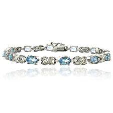 7ct Blue Topaz & Diamond Accent X & Oval Bracelet in Brass