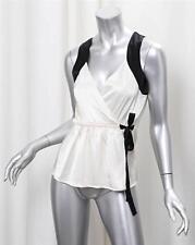 FREMONT Womens White+Black Silk Satin Sleeveless Wrap Shirt Tank Top Blouse XS