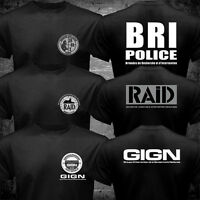 New France French Special Elite Police Forces Unit GIGN Raid BRI Black T shirt