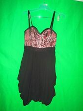 """Bebe 100% silk black/pink strapless """"pretty in pink"""" cocktail dress size S"""