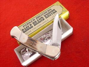 "Parker Brothers 3"" Closed Stag Japan Lockback Lock Blade Eagle Brand knife MINT"