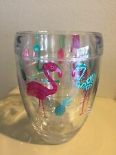 New Tervis Pink Flamingo and Pineapple Wrap 9 oz Stemless Insulated Wine Glass