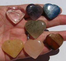 7 Piece Heart Shaped Mixed Gem Stone Chakra Set with Bag