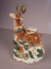 Fitz & Floyd Reindeer ceramic Figurine Candle holder Snowy Christmas 1996 #2