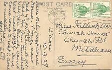 2304 1929 PUC Postal Union Congress 1/2D (2 x) cvr INVERTED WMK WIMBLEDON S.W.19