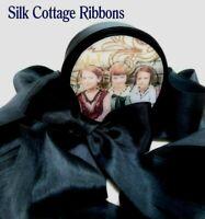 "3 Yards Silk Ribbon 1.25"" Width BLACK ONYX 1 1/4 Inch Width SILK COTTAGE RIBBON"