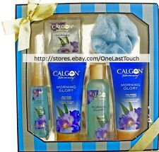 CALGON* 6pc Body Care Set MORNING GLORY Bath Salts+Spray+Wash+Loofah NEW (Boxed)