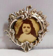 Broche porte photo ancienne - metal argenté