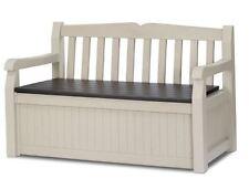 Storage Bench All Weather 70 Gallon Patio Deck Lockable Box Seats Beige